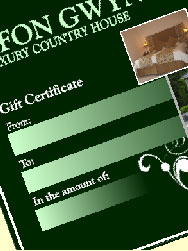 B&B Gift Certificates at Afon Gwyn